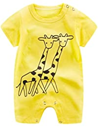 Clearance Sale!! Baby Infant Boy Girl Short Sleeve Cartoon Print Jumpsuit Romper Pajamas Clothes Summer Outfits