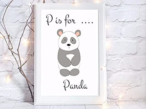 p is for panda nursery a4 gloss Print picture gift wall art unframed