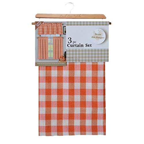 - 3 Piece Plaid, Checkered, Gingham 35% Cotton Kitchen Curtain Set with 1 Valance and 2 Tier Panels (Orange)