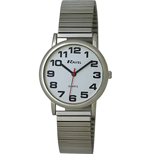 Ravel – Mens Easy Read Silver Expanding/Expander/Expansion Bracelet Band Watch