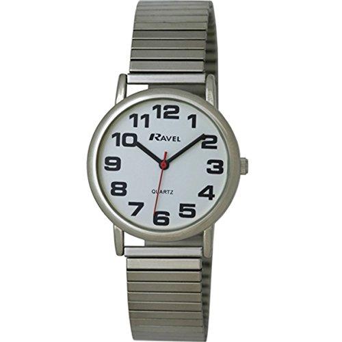 Ravel - Mens Easy Read Silver Expanding/Expander/Expansion Bracelet Band Watch - Expanding Bracelet Watch