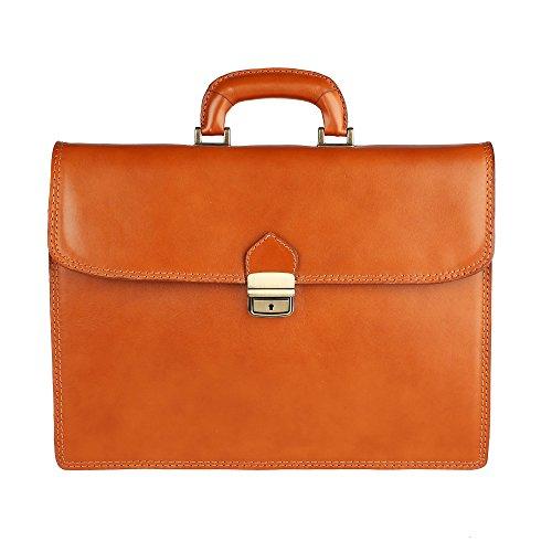 Unisex Aktentasche, Business Handtasche mit Schulterriemen, Laptophalter, aus echtem Leder Made in Italy Chicca Borse 39x30x17 Cm Bräunen