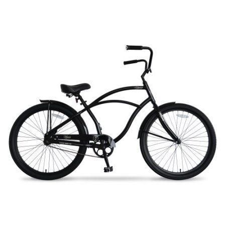 26 in Hyper Mens Beach Cruiser, Easy to Use Pedal Backwards Coaster Braking (Black)