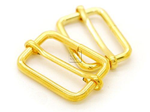 Ring Gold Slide - CRAFTMEmore Movable Bar Slide Strap Adjuster Rectangle Strap Keeper Triglide Belt Keeper Purse Making 5/8