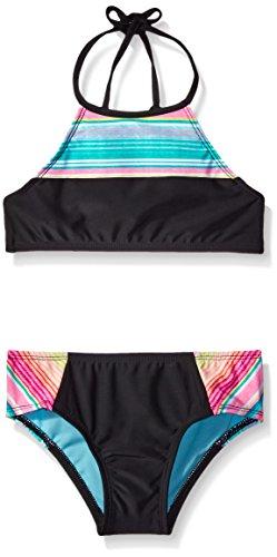 3b27b2704c Hobie Big Girls Salt Air Stripe Swim High Neck Crop Top and Boy Cut ...
