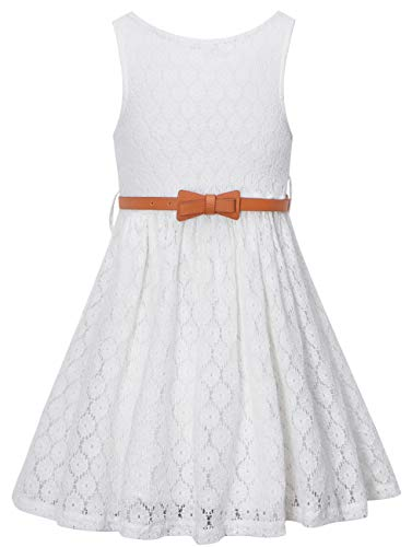 Girls Summer Lace Party Dress with Belt, Flower Girl Sleeveless Lace Dress for Little Girls, White, 3T-4T (3-4 Years)=Tag -