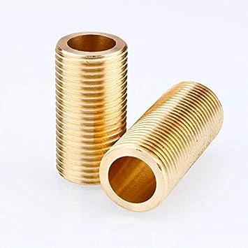 Tubo roscado SENRISE 2 piezas 1//2 lat/ón Tetina de correr largo roscado fontaner/ía de ajuste para conectores de tanque dorado