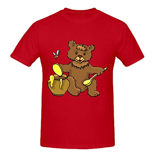 Cartoon Bear Eating Honey Mens Funny t shirts O Neck Red Screen Printed