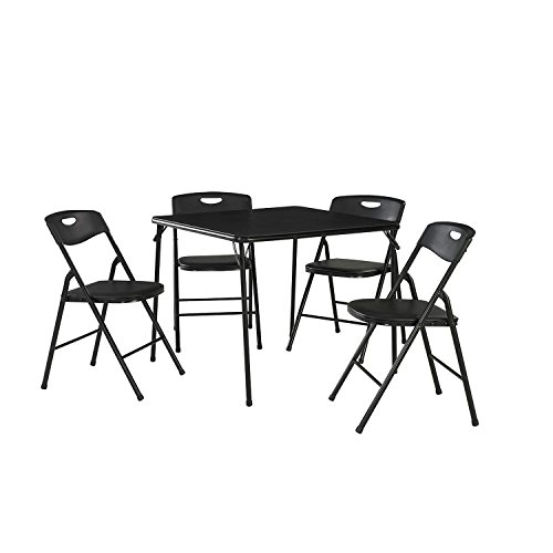 Cosco 5 Piece Home Dining Contemporary Steel Folding Table and Chair Set, Black by Cosco