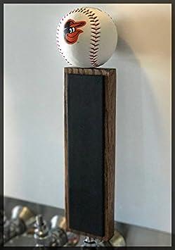 Baltimore Orioles Baseball Chalkboard Tap Handle 11.5, Dark Walnut Rusted Kettle Brewing