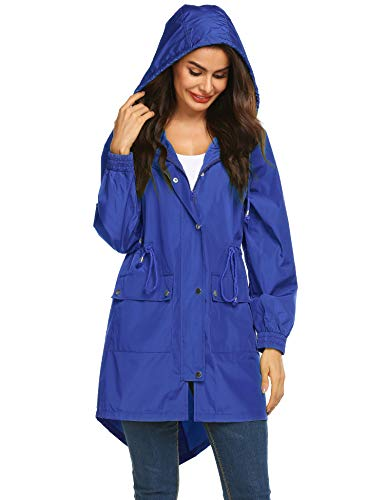 LOMON Women Raincoat Packable and Lightweight for Travel Outdoor Hooded Waterproof Hiking Jacket (Type B Blue S) (Best Lightweight Jacket For Travel)