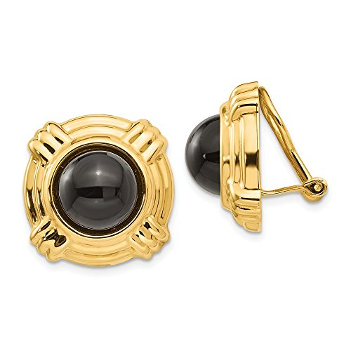 14k Yellow Gold Omega Clip Black Onyx Non Pierced On Earrings Fine Jewelry Gifts For Women For Her ()