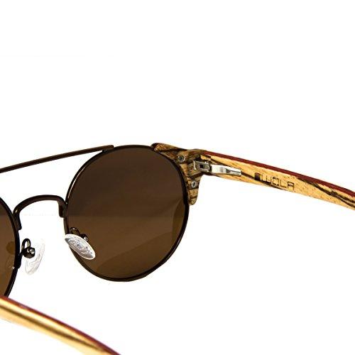 WOLA lunettes soleil bois métal de FEU rondes bois lunette Marron rond RwgCRqrAx