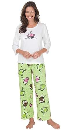 PajamaGram Women's 'I Need Coffee' Pajamas at Amazon Women ...