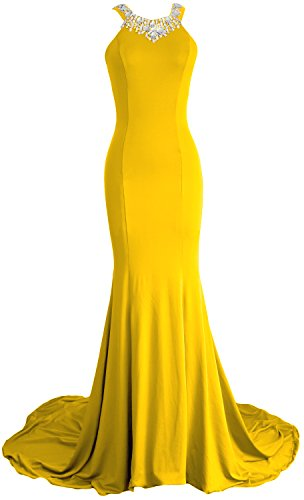 MACloth Women Mermaid Jersey Long Wedding Party Dress Formal Evening Gown Amarillo