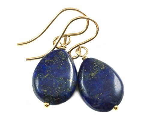 14k Gold Filled Lapis Lazuli Earrings Blue Smooth Teardrop Shaped Briolette