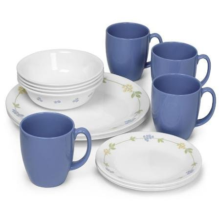 - Corelle Livingware Secret Garden 16-Piece Dinnerware Set, Microwave and Dishwasher Safe