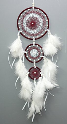 Daedal dream catchers - Maroon and White Crystalised Three Ring Dream ca Cher Home Decor DDC93MW - The rings of sizes 12cm, 7 cm and 5 cms are tied up in decreasing order of their sizes Woollen and the fine shining thread are used for web l*b*h = 12*1*45 ( in cm) - living-room-decor, living-room, home-decor - 41vFNfJ0yNL -