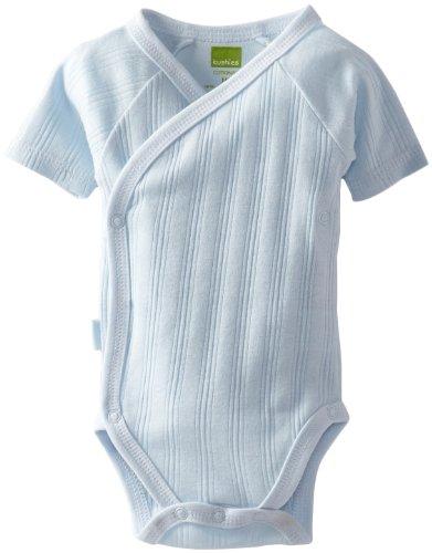 Kushies Unisexbaby Newborn Everyday Mocha Layette Wrap Short Sleeve Bodysuit, Blue, 1 Month
