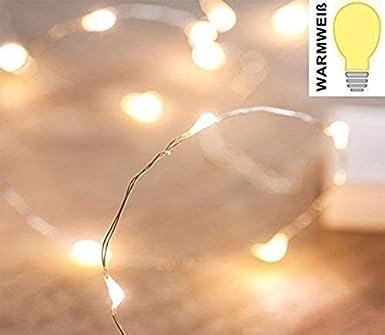 LED Lichterkette 10 kleine Leuchten für Deko Basteln Beleuchtung Balkon Warmweiß