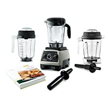 Vitamix Professional Series 750 Brushed Stainless Steel 64 Ounce Blender Set with 32 Ounce Dry Container and Bonus 48 Ounce Wet Container by Vitamix