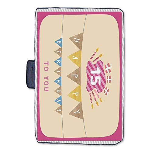 15th Birthday Decorations Stylish Picnic Blanket,Pastel Colored Framework Flags Presents and Candles Greeting Mat for Picnics Beaches Camping,50