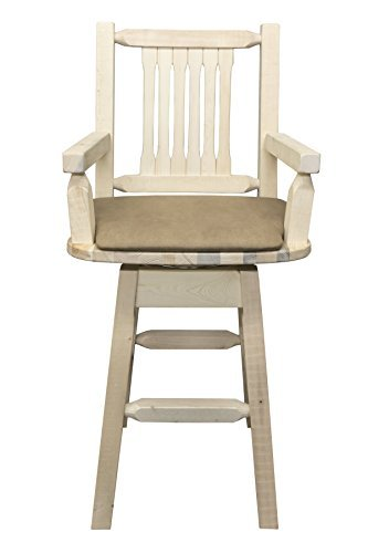 Montana Woodworks MWHCBSWSCASBUCK Homestead Collection Captain's Barstool with Back & Swivel, Ready to Finish with Upholstered Seat, Buckskin Pattern
