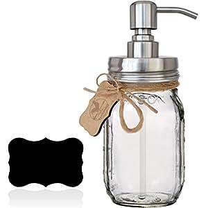 Premium Rust Proof 304 18/8 Stainless Steel Mason Jar Soap Pump/Lotion Dispenser   Modern Farmhouse   16 oz (Regular Mouth) Glass Mason Jar (Brushed Stainless Steel)