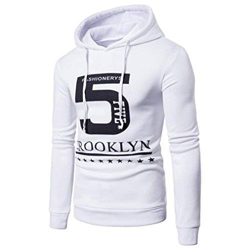 "Hot Sale! Clearance!Todaies Men's Long Sleeve Printed ""5"" Hoodie Hooded Sweatshirt Top Tee Outwear Blouse (2XL, White) (Faux Shearling Hipster)"