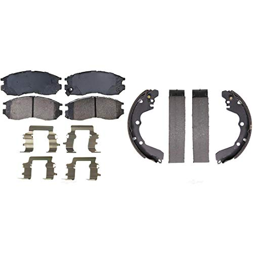 (AutoDN Front and Rear Ceramic Disc Brake Pads and Brake Shoes Set For MITSUBISHI EXPO)