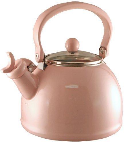 Calypso Basics 2-2-Quart Enamel-on-Steel Whistling Teakettle with Glass Lid, Pink by Reston Lloyd