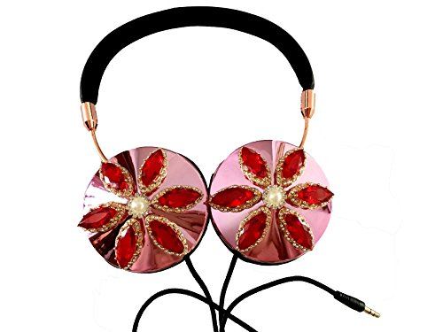 blingustyle designer Iridescent Gems crystal fashion Jewellery Foldable Ear-Cup headphone (C3)