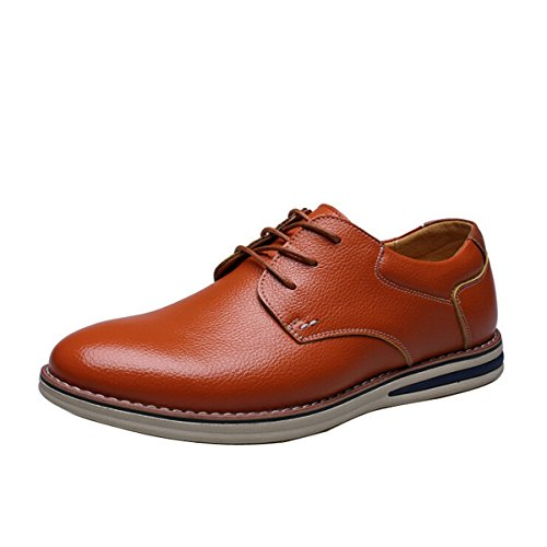 Genuine Business Classic Party Yellow Style Leather Flat Casual European Lace Oxford Formal Men up Shoe Dress qtgH0wgR