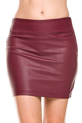 The Lovely Casual Slim Solid Tight Short Faux Leather Bodycon Sexy Mini Skirt (Burgundy, Small)
