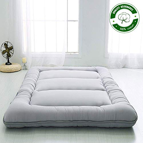 Japanese Floor Mattress Futon Mattress Thicken Tatami Mat Sleeping Pad Foldable Roll Up Mattress Boys Girls Dormitory Mattress Pad Kids Floor Lounger Bed Couches And Sofas Grey Full Size