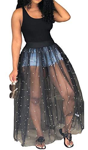 - Symina Women Sleeveless Tunic Bodysuits Long Dress Sheer Mesh See Through Maxi Dress with Perl Beading