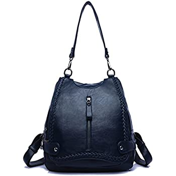 9c36e239910c BeautyWJY Women PU Washed Leather Backpack Purse Ladies Rivet Rucksack  Studded Convertible Shoulder Bag 1