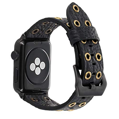 (for Apple Watch Band 38mm 42mm 40/44 mm Black Leather, FALANDI Rock Style Hollow Rivets Genuine Leather iWatch Strap Women Men Replacement Wristband for Apple Watch Series 4/3/2/1 (38/40 mm))