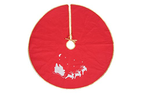 Red and White Santa Sleigh and Reindeer Tree Skirt by Clever Creations | Night Before Christmas Design | Gold Trim | Traditional Classic Holiday Decor | Catches Falling Needles and Sap | 36
