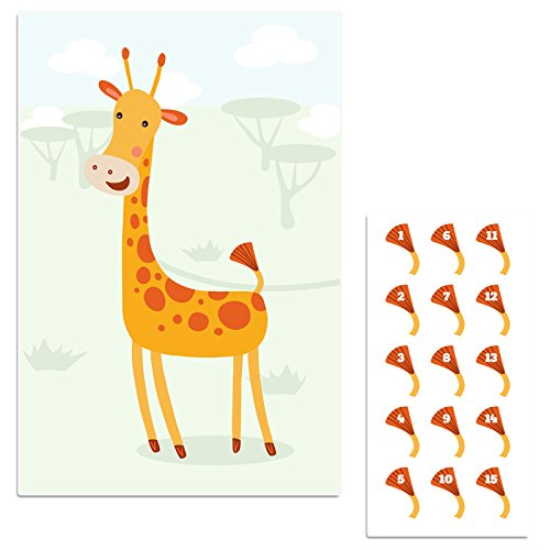(Safari Giraffe Pin The Tail Birthday Party Game)