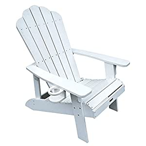 2 Adirondack Chairs White All Weather Polyresin Lumber Traditional Wide arm rests, Curved seat, High back Island Retreat
