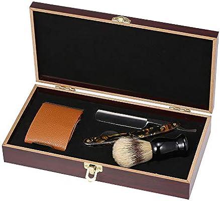 fresh styles great fit buy sale Anself Kit da barba rasoio vintage Kit da barba barbiere in acciaio inox  con bordi in legno Astuccio per affilare set da barba