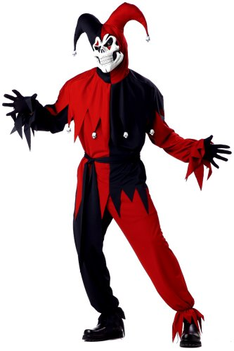 Scary Mens Halloween Costumes (California Costumes Men's Adult- Red Evil Jester, Black/Red, M (40-42) Costume)
