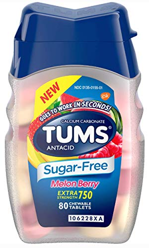 TUMS Extra Strength Sugar-Free Antacid, Melon Berry Chewable Tablets for Heartburn Relief, 80 (Fast Acting Relief Berry)