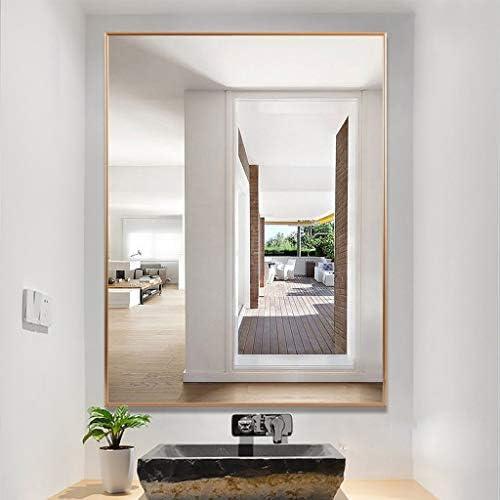 ゴールデンバスルームの鏡防水アルミフレーム防爆安全ポーチ装飾鏡 J1/6 (Color : Gold, Size : 50x70