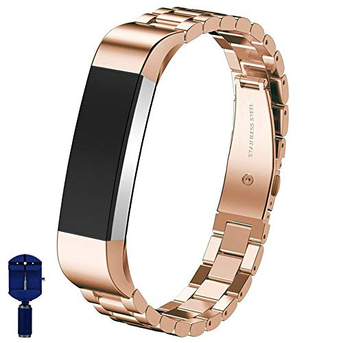 Crazy Panda - CRAZY PANDA Supreme Solid Stainless Steel Wrist Band Strap Sport&Business Replacement Band Bracelet for Fitbit Alta&Alta HR, Durable Folding Clasp for Fitbit Alta&Alta HR - Rose Gold