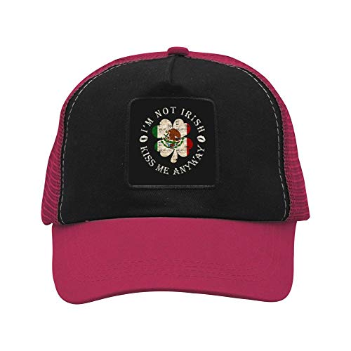 Not Irish Kiss Me Anyway Mexican Flag Double-Breasted Caps Cool Beanie Hats Fan Fashions Dad Baseball Hats Adjustable Wine Red