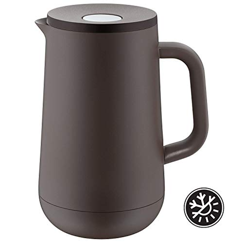 WMF Thermos Flask Tea Coffee 1,0l, Height 23.4cm Glass Insert Impulse Charcoal Automatic Closure 24Hour Cold and Warm Gift Box, Brown (Best Thermos Flask Uk)