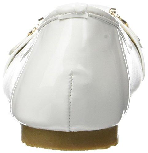 Material blanco bailarinas bi con Sarga cinta 1 cm y la decoración del metal