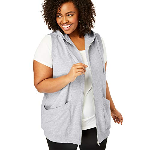- Woman Within Women's Plus Size Zip-Front Hooded Tunic Vest - Heather Grey, 14/16